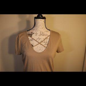 New forever 21 criss cross front tan beige t shirt